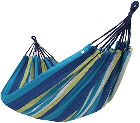 SONGMICS Cotton Hammock Swing Bed for Patio, Porch, Garden or Backyard Lounging – Heavy-Duty, Lightweight and Portable – Indoor Outdoor – Blue, Yellow UGDC15YU
