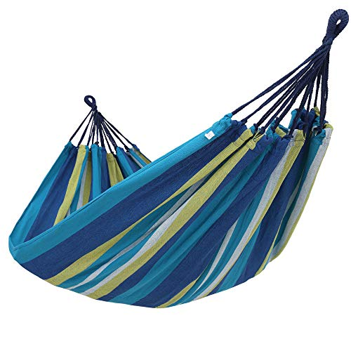 SONGMICS Cotton Hammock Swing Bed for Patio, Porch, Garden or Backyard Lounging - Heavy-Duty, Lightweight and Portable - Indoor Outdoor - Blue, Yellow - Hammock Only