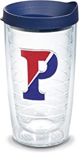 Tervis 1065830 Pennsylvania Quakers Logo Tumbler with Emblem and Navy Lid 16oz, Clear