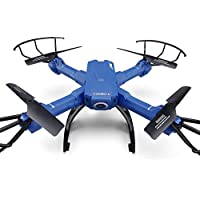 H38wh RC Quadcopter, Kobwa UAV Drone with 2.4G Wifi 2MP Camera, Wide Angle Lens, Headless Mode, Altitude Hold and 360° Stunt Fly, Real Time Transmission - Blue