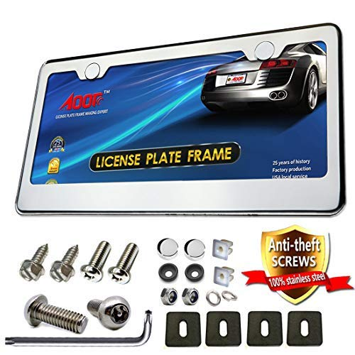 Aootf License Plate Frame-304 High-end Stainless Steel License Plate Frames Mirror Finish and License Plate Screws Anti Theft,Screws Caps-21Set,Practical -