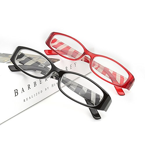 Reading Glasses Readers For Women and Men Stylish Laser Process Temples For that Cute and Sophisticated Look CRYSTAL CLEAR VISION Sturdy Spring Hinge with Strong Frames (2.5, Black+Red)