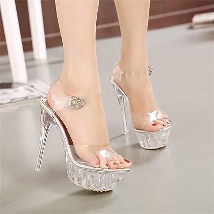 042cfd7712df DS-Belle New Authentic 14CM Super high Heels Thin Transparent Glass  Platform Shoes Princess Wedding