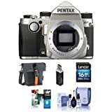 Pentax KP 24MP Compact TTL Autofocus DSLR Camera, Silver - Bundle with 16GB SDHC Card, Holster Case, Cleaning Kit, Card Reader, Software Package