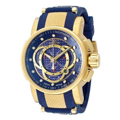 Invicta Men's 10564 S1 Rally Chronograph Blue Carbon Fiber Dial Blue Polyurethane Watch