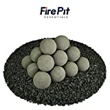 Ceramic Fire Balls | Set of 20 | Modern Accessory for Indoor and Outdoor Fire Pits or Fireplaces – Brushed Concrete Look | Charcoal Gray, 3 Inch For Sale