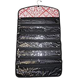 Ever Moda Tri-fold Hanging Jewelry Organizer Bag, Damask Coral Pink