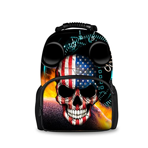 Showudesigns Hip Hop Print Men Skull Backpack Student Travel Bags by Showudesigns