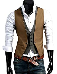 Cafuny Men's Slim Fit False Two Pieces Sleeveless Suit Vest Waistcoat