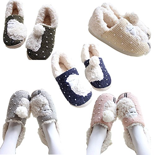 CHUANGLI 1 Pair Women/Men Cute Sheep Cotton Slipper Plush Mules Home Bedroom Ankle Boots Blue PYqQuHj7F