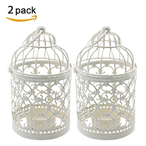 Ciaoed Metal Tealight Candle Holder Hollow Out Birdcage Iron Candle Holder Vintage Hanging Candlestick Lantern for Party Wedding Home Decoration Pack of (Hanging Bird Decoration)