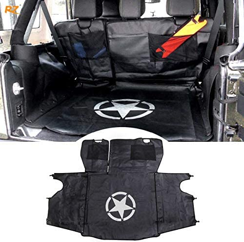 RONGZHI Dog Car Seat Cover for Pets with Hammock Style Waterproof Dog Cat Safety Car Mat for 2007-2017 Wrangler JK 4-Door