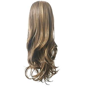 Mittelwellige Lange Lockige Haare Perücke Braun Goldblond