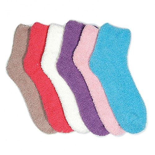Mamia 6 Paar Comfortabele Slipper Sokken Voor Dames Fuzzy Sock Multi Color Style 6