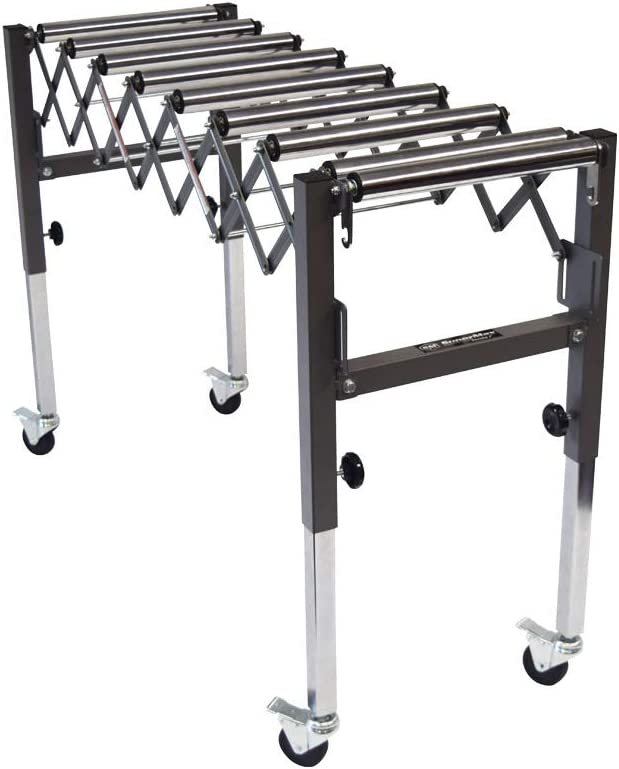 """SUPERMAX TOOLS Expandable Roller Conveyor - Adjusts up to 50"""" Long x 36"""" Tall w/ 200lb Max Load Capacity"""