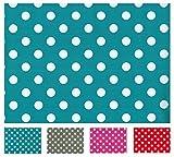 Rectangular Oilcloth PVC Wipe Clean Tablecloth 140cm x 240cm 55x94 Polka Dot Teal