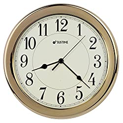 8.5 inch Simply High-end Beige Plastic Easy to Read Decorative Wall Clock, Water Resistant, Special for Small Space, Office, Boats, RV (W86003 Gold-plated)