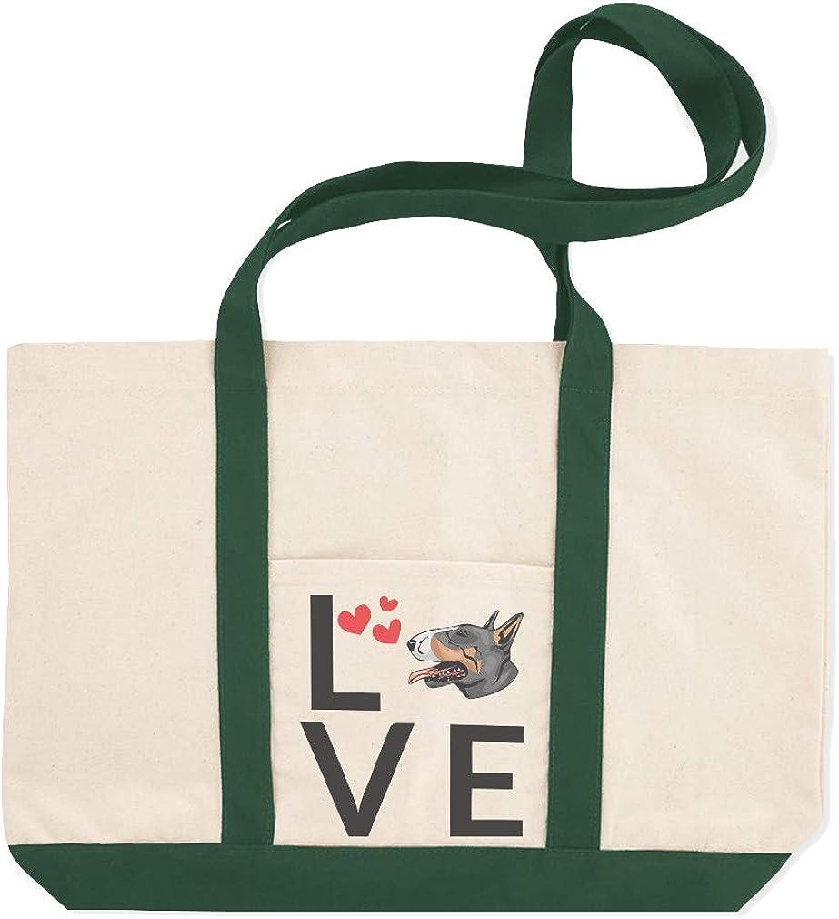 Canvas Shopping Tote Bag Love Hearts Bull Terrier Dog Bull Terrier Beach Bags for Women