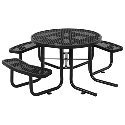 46″ ADA Round Picnic Table, Surface Mount, Black