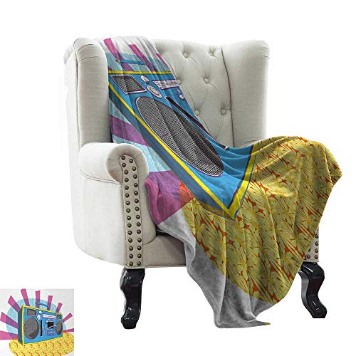 BelleAckerman Soft Cozy Throw Blanket 70s Party,Retro Boom Box in Pop Art Manner Dance Music Colorful Composition Artwork Print,Multicolor All Season Light Weight Living Room/Bedroom 60