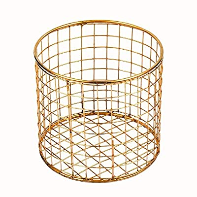 "storeindya Metal Wire Mesh Cylindrical Brass Plated Utility Basket, Storage Organizer for Kitchen Cabinets, Makeup, Bathroom, Laundry, Closets, Garage - Housewarming Gift for Men Women - ♥ ELEGANT AND FASHIONABLE DESIGN: This round desktop bins basket will add sophistication and style to your desk, bathroom countertop, dressing table or anywhere you place it. The wire cup is neatly design by paying attention to smallest details. ♥ COMPACT AND STURDY CONSTRUCTION: Creatively made from metal wire with brass plating, which makes this basket durable and sturdy. DIMENSION: 5"" x 5"" x 4.5"", this basket holder is compact and it doesn't occupy much space. ♥ VERSATILE: The modern design of the organizing basket bin makes it a multi-utility holder. This Storage Bin allows you to store and organize pencils, file, highlighters, pen, markers, scissors, makeup brushes and more. It perfect for de-cluttering your desk, counter, dresser or tabletop at home or in the office. - living-room-decor, living-room, baskets-storage - 512uB97dS3L. SS400  -"