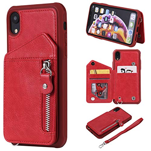 (DAMONDY iPhone XR Case, Zipper Wallet Purse Card Holders Design Cover Soft Shockproof Bumper Folio Flip Leather Kickstand Clasp Wrist Strap Case for iPhone XR-Red)