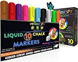 Image of LIQUID CHALK MARKERS 10-Pack with Non-Toxic Erasable Ink & Reversible Chisel-Fine Tip, Fun Neon Color Pens that Spark Your Creativity, Water-Based & Eco-Friendly Chalkboard Markers - Ideal for Kids 3+