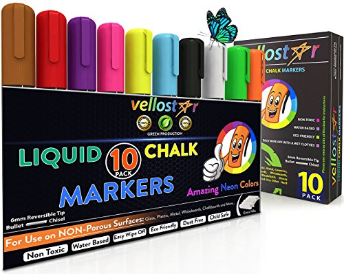 LIQUID CHALK MARKERS 10-Pack, BUNDLE with Erasable Ink & Reversible Tip – Fun Neon Color Pens that Boost Your Creativity – Water-Based & Eco-Friendly Chalkboard Markers