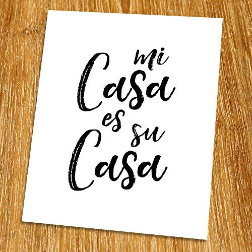 Welcome Quote Print (Unframed), Mi Casa Es Su Casa, Living Room Decor, Motivational Wall Art, Minimalist, Black and White, 8x10