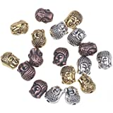 RUBYCA 20PCS Buddha Small Spiritual Metal Beads Mix Colors Spacer for Jewelry Making Bracelet