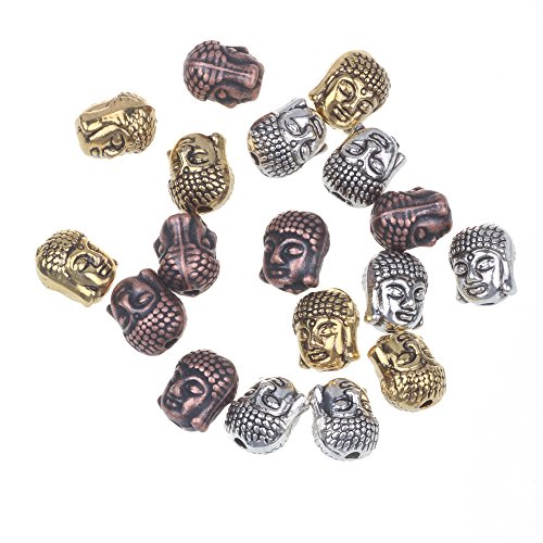 RUBYCA 40PCS Buddha Small Spiritual Metal Beads Mix Colors Spacer for Jewelry Making - Face Beads Spacer