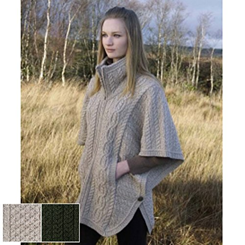 100% Irish Merino Wool Batwing Aran Knit Jacket - Fast Delivery from Ireland, Parsnip, (Merino Cardigan Sweater)