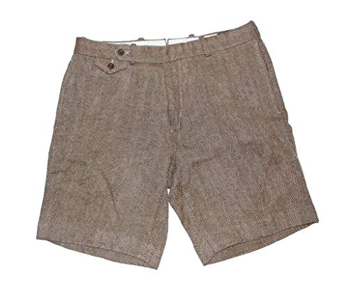 (Ralph Lauren Shorts Men Houndstooth Tweed Shorts 34 Beige)