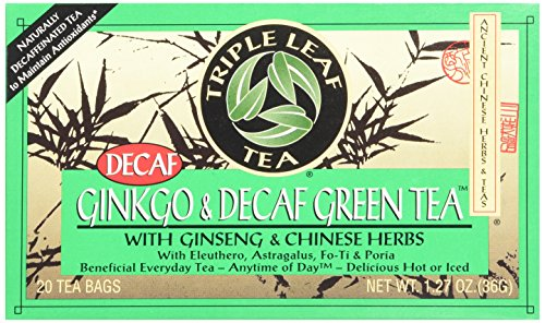 Triple Leaf Tea, Ginkgo & Decaf Green Tea, 20 Tea Bags 1.27 OZ (Pack of 6) - Ginkgo 20 Bags