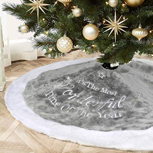 "LAVAY Gray Christmas Tree Skirts Luxury Faux Fur Plush Wonderful Time Embroidery Xmas Tree Skirts Holiday Christmas Tree Ornaments Home Party Christmas Decorations (Diameter 48"") from LAVAY"