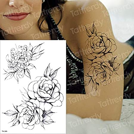 tzxdbh Flor Grande Negro Body Art Impermeable Temporal Sexy ...