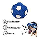 Dog Chew Toys Ball Durable Dog Squeaky Toy Soft Natural Latex Football for Aggressive Chewers (Soccer)