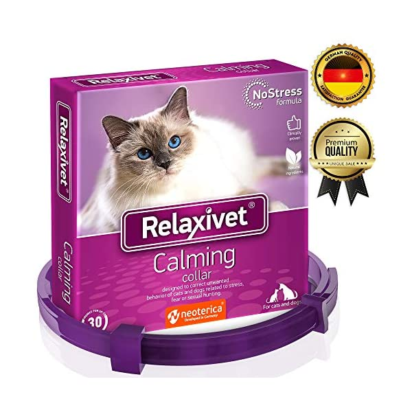 Relaxivet Calming Collar For Cats and Small Dogs – Reduce Anxiety Your Pets – The Best Replacement for Calming Chews Treats Drops Plug In