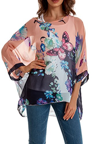 Womens Blouse Floral Dolman Sleeve Tops Large Butterfly (Butterflies Ladies Top)
