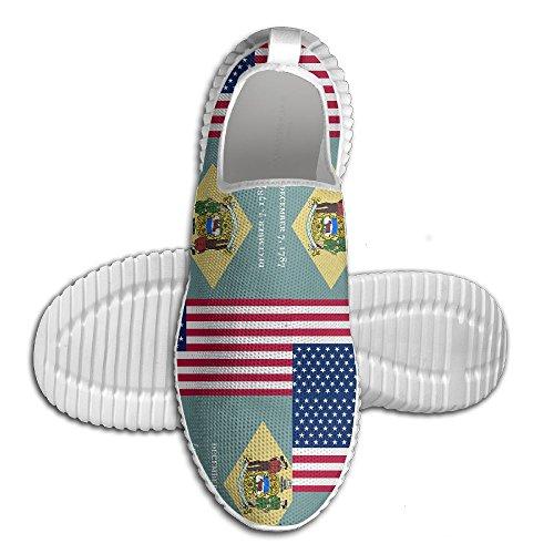 Ägg Ägg Usa Delaware Flagga Kvinna Man Loafers Löparskor Andas Mesh Utomhus Sport Promenadskor Vita