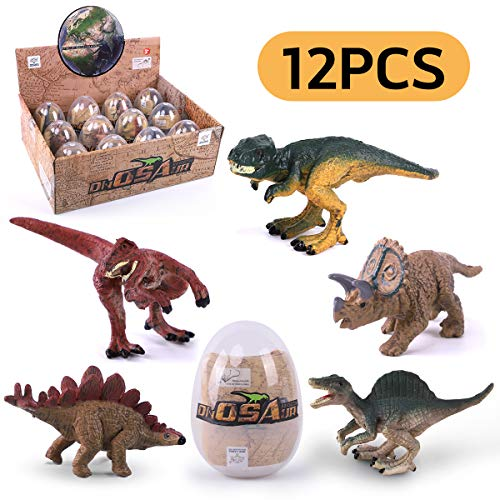 GILOBABY Dinosaur Eggs Novelty Magic Dino Egg with Dinosaur Figures Educational Toys Dinosaur Party Favors Easter Basket Fillers for Kids Boys Age 3+ (12 Pcs)