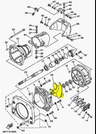 Yamaha 6B5-R1321-00-00 Impeller; 6B5R13210000 Made by Yamaha