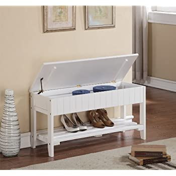 White Finish Solid Wood Storage Shoe Bench Rack Shelf