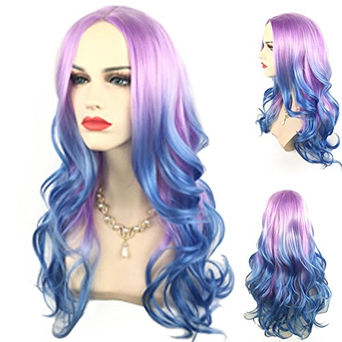 Colorful Dance Costume And Setting (Long Wave Purple Ombre Blue Cosplay Wig Colorful Lolita Style Anime Cosplay Wigs with A Free Wig Cap, 001A)