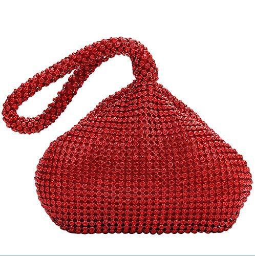 (AIJUN Triangle Full Rhinestones Women's Evening Clutch Bag Party Prom Wedding Purse (Red))