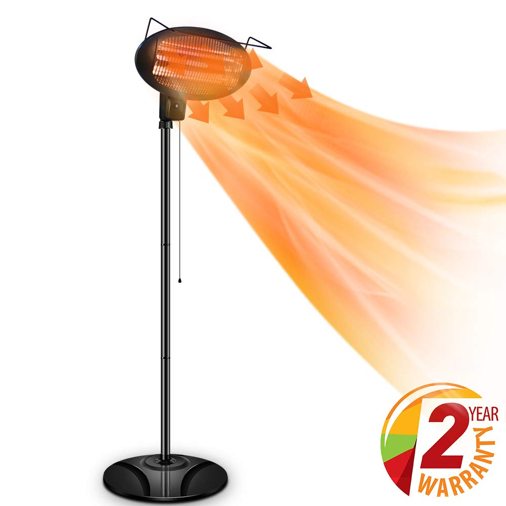 Air Choice Outdoor Heater, Electric Halogen Patio Heater, Space Heater with 3 Power Levels for Patio, Courtyard, Garage Use, Waterproof, 1500W by Air Choice
