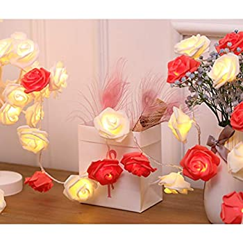 Original 20 Led Novelty Rose Flower Fairy String Lights Wedding Garden Party Valentines Day Decoration With Battery Box Easy To Lubricate Led Lighting Led String
