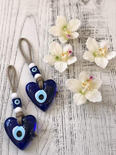 Trendexport Set of 2 Heart Shaped Glass Blue Evil Eye Wall Hanging Decorative Wall Talisman, Good Luck Charm Gift for Protection&Blessing, Authentic & Unique Gift Idea