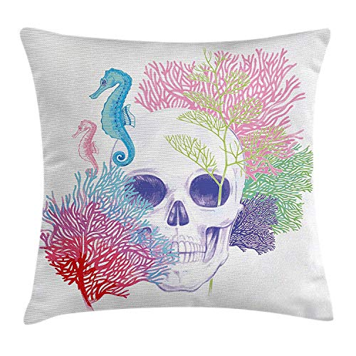 K0k2t0 Animal Decor Throw Pillow Cushion Cover, Halloween Skull Skeleton Head with Coral Reef Dead Aquarium Pirate Wildlife Image, Decorative Square Accent Pillow Case, 18 X 18 inches, Multi -