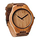Unique Wooden Mens Watches with Genuine Leather Gift Quartz Wrist Watch (TW-1003)